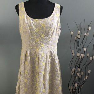 Nine West Tan/Yellow Embroidered Dress Sz 14